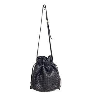 Bottega Veneta Black Calf Intrecciato Bucket Bag